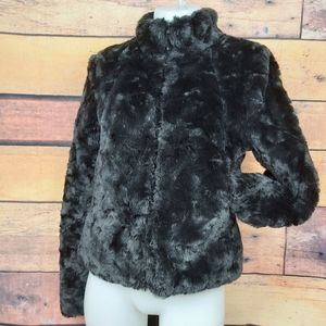 ❄ H & M Divided faux fur black coat